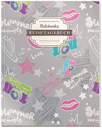 DÉKOKIND Reisetagebuch zum Selberschreiben | DIN A4, 100+ Seiten, Register, Vintage Softcover | Auch als Abschiedsgeschenk | Motiv: Jugendlich