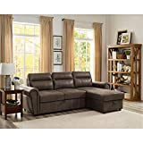 Lilola Home LILOLA Ashton Microfiber Reversible Sleeper Sectional Sofa Saddle...