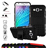 Galaxy J5 2015 Case,Mama Mouth Shockproof Heavy Duty Combo Hybrid Rugged Dual Layer Grip Cover with Kickstand for Samsung Galaxy J5 J500 2015(with 4 in 1 Packaged),Black