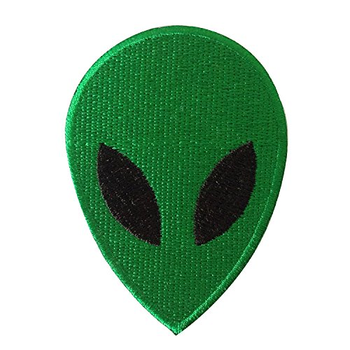 ET Alien with UFO Spaceship Journey Sew on or Iron on Patches Embroidered Applique Craft Accessory for decorate your Clothes Jeans Tshirt Jacket Pant Bag Backpack Hat for Men Women Boys Girls Green