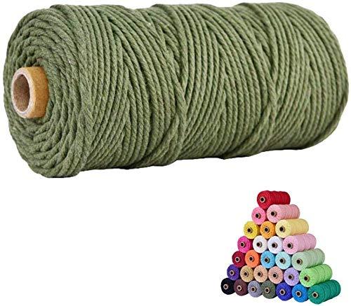 Cuerda de macramé multicolor para manualidades, hilo natural de algodón de 2mm, cuerda para colgar en la pared, perchas, manualidades, atrapasueños, 200m-Verde esercito