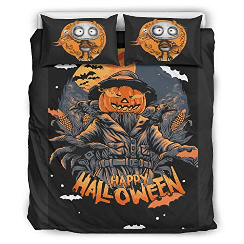 Ouniaodao Comforter Bedding Cover Halloween Horror Microfiber Lightweight -Halloween's Day Gift 1 Quilt Cover and 1 Pillow Sham for Boys Bedroom white 104x90 inch