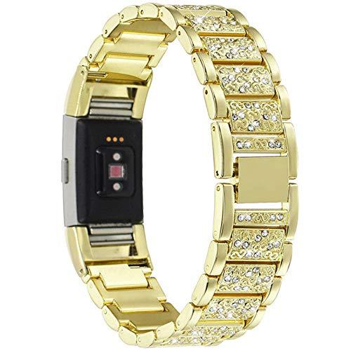 YWZQ Strap Kompatibel mit Fitbit CHARGE3, Edelstahl Strass Kette Armband Fitness Tracker Ersatz-Bänder für Fitbit CHARGE3,Gold