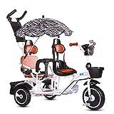 FLYFO Triciclo para Niños, Biplaza Biplaza Bicicletas Marco Envejecido 3-6 Acero De Alto Carbón Grande Doble Carretilla del Cochecito,Blanco