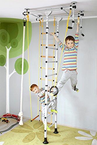 NiroSport FitTop M1 Indoor Klettergerüst für Kinder Sprossenwand für Kinderzimmer Turnwand Kletterwand, TÜV geprüft, kinderleichte Montage, max. Belastung bis ca. 130 kg (Weiß)