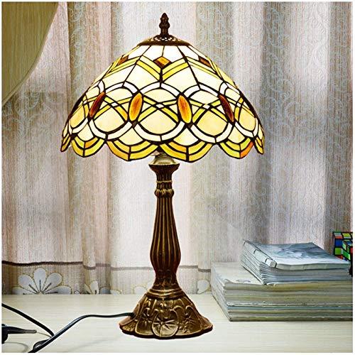 Tiffany Style Lámpara de mesa de tiffany Shade, base de resina de la lámpara de cristal de la libélula de 12 pulgadas, luz de la noche, lámpara de noche, lámpara de lectura del escritorio, usado en sa