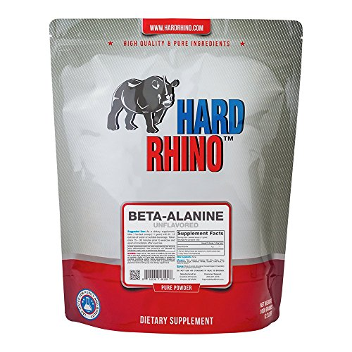 Hard Rhino Beta-Alanine Powder, 1 Kilogram (2.2 Lbs), Unflavored, Lab-Tested, Scoop Included