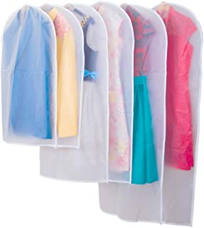 Yesoa 6 pcs Housses de Vêtements,Housses de Protection PliableTransparentes Anti-poussière Imperméables avec Zip Rangement...