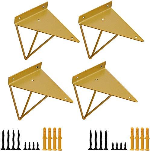 Staffe per Mensole Forma di Triangolare Geometrico, 15.7 x 13 cm Reggimensole Galleggianti Industriali a Scomparsa in Ferro da Muro, Supporto Mensole Nascosti Stile Vintage da Parete, 4 Pezzi, Oro