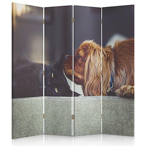 Feeby Frames Biombo Impreso sobre Lona, tabique Decorativo para Habitaciones, a una Cara, de 4 Piezas (145x180 cm), Gato, Perro, Animal, Negro, MARRÓN