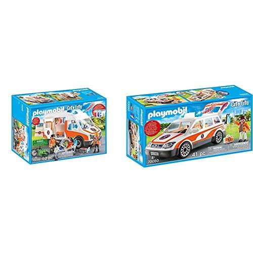 Playmobil City Life 70049 Rettungswagen mit Licht und Sound, Ab 4 Jahren & City Life 70050 Notarzt-PKW mit Licht und Sound, Ab 4 Jahren