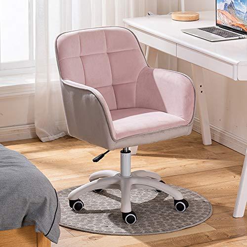 KST Silla Decorativa de Terciopelo con Patas Blancas de pentágono, sillón Giratorio Ajustable para Dormitorio/Sala de Estar, fácil de Montar, Rosa
