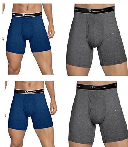 Champion Herren Elite X-Temp Boxer Briefs 4-Pack Retroshorts, blau/grau, X-Large