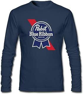 KLA2000 Men's T-Shirts Pabst Blue Ribbon Beer Logo Long Sleeve Tee Shirts,100% Cotton