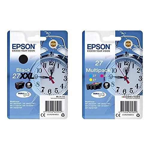 Epson Durabrite Ultra 27Xxl Cartuccia Di Inchiostro, Nero Sveglia, Rf, Am & 27 Durabrite Ultra Ink- Cartuccia D'Inchiostro, Xl, Multicolore (Cyan/Magenta/Yellow)