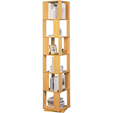 Huisen Furniture 6 Tiers Rotating Bookcase for Kids Room Tallboy Unit Display and Storage Rack Slimline Bookshelf Wooden Corner Floor Standing Living Room Bedroom Small Space