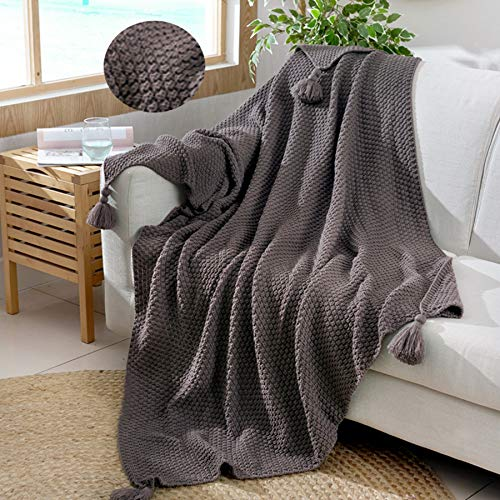 Shaddock - Manta de punto con borlas de 130 x 180 cm, de algodón natural, ultra suave, para decoración del hogar, con borlas hechas a mano, para sofá, cama, playa, picnic, etc.