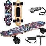 E-Cruiser Skateboard électrique avec télécommande, Longboard Électrique à 4 Roues,Planche à roulettes Skateboard Électrique Noir pour Les Enfant Jeune et Adulte, Moteur 350W, Max. 20 km/h (EU Stock)