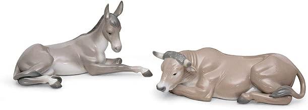 Lladro Porcelain Figurine Silent Night Ox and Donkey Set