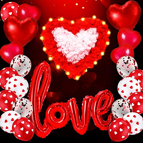 Kit de 36 Globos de Día de San Valentín Incluye Globos en Forma de Corazón Globos de Love con Cinta, 2 Cadenas de Luces LED y 1000 Pétalos de Rosa de Tela para Decoración de Fiesta de Boda