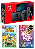 Nintendo Switch HAC 001 with Gray Joy-Con + Just Dance 2020 (Disc) & Animal Crossing: New Horizons (Disc) Game Bundle