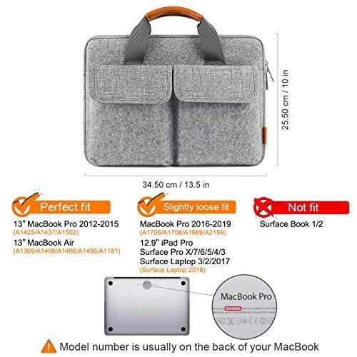 13/13,3 Zoll Laptoptasche Hülle Filz Aktentasche kompatibel mit MacBook Air/MacBook Pro 2019/2018/2017/2016-2012/12,3 Zoll Surface Pro X/7/6/5/4/3/13,5 Zoll Surface Laptop 3/2/2017 - 2