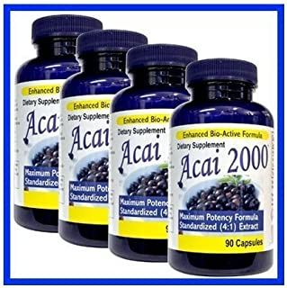 4 Pack -Acai 2000 Max Potency 360 CAPSULES 100% PURE, 4:1 Extract ACAI Berry Natural Nutrition, For Energy, Weight Loss, D...