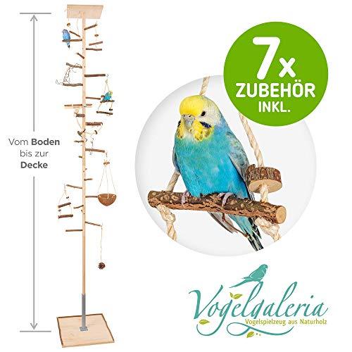 Zimmerhoher Vogel-Kletterbaum 190-192 cm HiFly Medio mit Naturholz-Sitzstangen, Vogel-Spielzeug, Vogelschaukel. Vogelspielplatz, Freiflug Landeplatz für Wellensittich, Nymphensittich & Co.