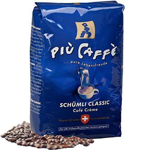 più caffè Schümli Classic Café Crème Kaffeebohnen, 1 kg, aromatische und würzige Mischung aus Arabica-und Robusta, Schweizer Trommelröstung, ganze Bohnen für Vollautomaten
