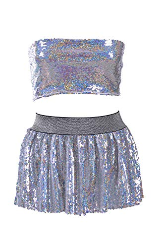 Reversible Holographic Sequin Tube Top & Mini Skirt Set - Festival Fashion for Dancing at Rave, Club, Beach & Party