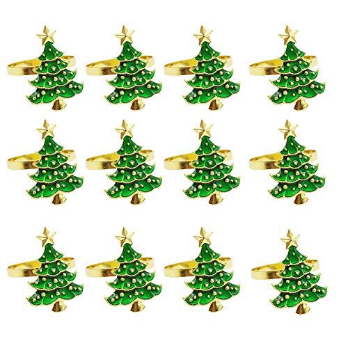 heling896 Weihnachtsbaum Serviettenringe 12er Set, Dekorative Serviettenringschnallen Serviettenhalter Tischdekoration Für Weihnachten, Thanksgiving, Familientreffen