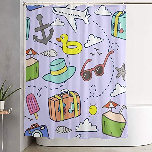 Shower curtain,Cartoon Duck Airplane Anchor Suitcase Ice Cream Leaf Palm Cloud Sun Hat,bathroom curtain washable bathroom curtain polyester fabric with 12 plastic hooks 180x210cm