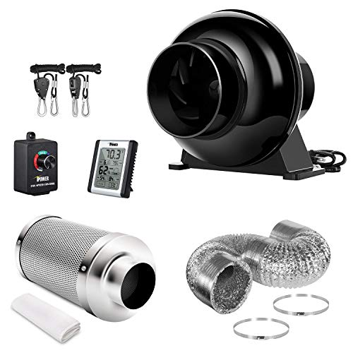 iPower GLFANXSETINLLITE4D8RHCTR 4 Inch 195 CFM Inline Fan Carbon Filter 8 Feet Ducting Combo with Variable Speed Controller Rope Hanger, Lite Ventilation Kits, Temperature Humidity Monitor