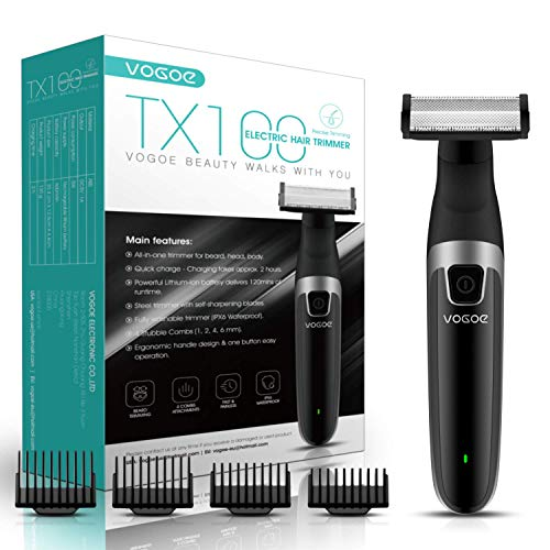VOGOE Beard Trimmer for Men Cordless Hair Clippers Electric Shaver for Men and Women Full Body, Professional Hair Trimmer for Wet and Dry Razors, Portable Waterproof and Rechargeable TX100