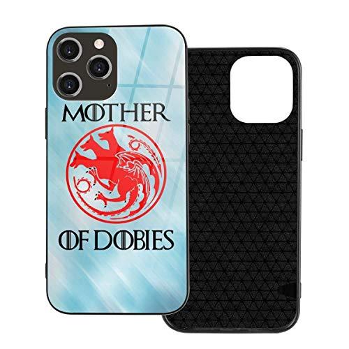 Juego de Tronos Madre de Dobies I-Phone 12 fundas de cristal templado trasera + funda protectora de TPU de silicona suave para I-Phone 12/12 Pro