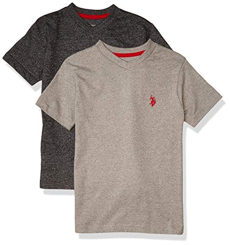 U.S. Polo Assn. Boys Essential 2 Pack Short Sleeve T-Shirts, Marled Light Grey, 14/16