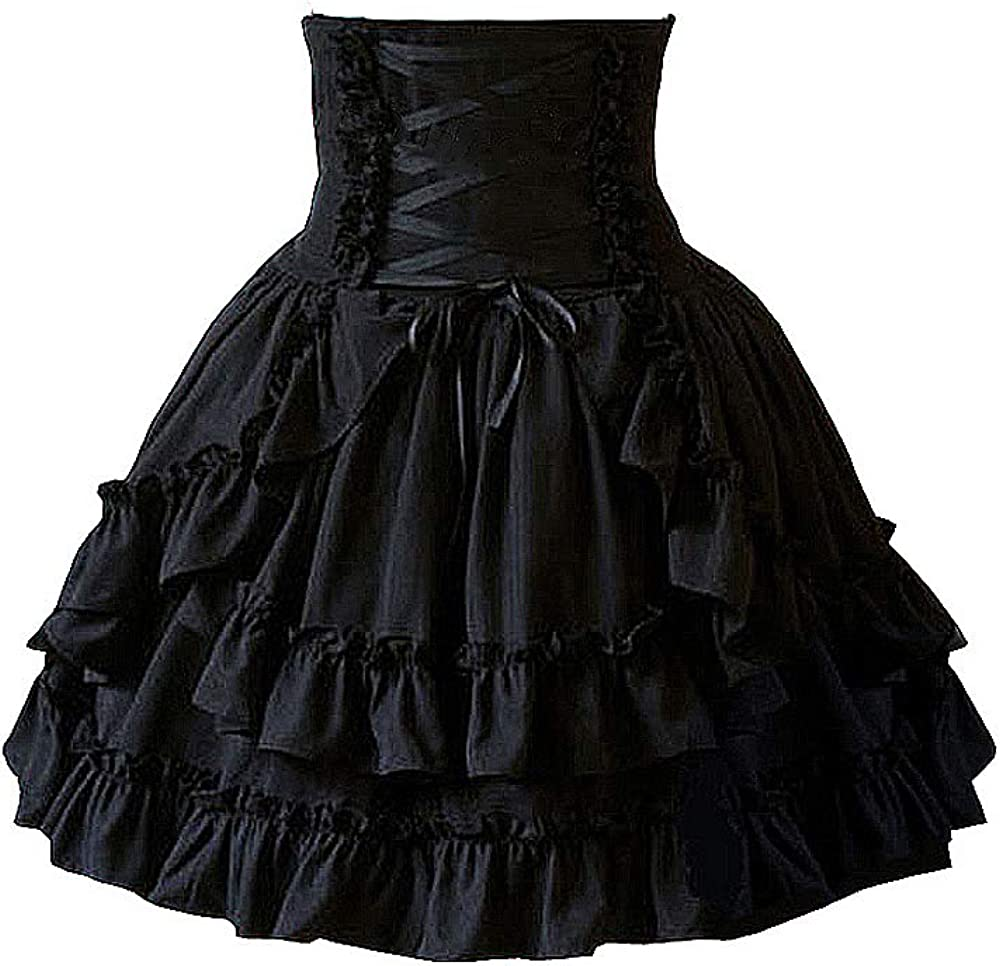 Antaina Black High-Waisted Gothic Layered Ruffled Cotton Lolita Short Skirts