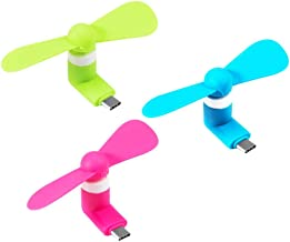 Fans USB C,Type C Portable Fan Suitable for Android Samsung Galaxy S10 S9 S8 S7 Plus Note 9 8, Moto Z, LG V30 V20 G5 Huawei Xiaomi(Rose Red/Blue/Green)【3 Pack 】