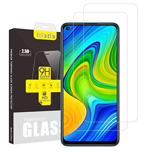 iTieTie 2-Unidades Protector de Pantalla para Note 9, no para Note 9S, Sin Burbujas, Alta definición, Anti-rasguños, Protector de Pantalla de Vidrio Templado para Xiaomi Redmi Note 9