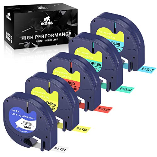 IKONG Replacement for Dymo LetraTag Refills Plastic Tape 91331 91332 91333 91334 91335 Labeling Tape Used with DYMO LetraTag Plus LT-100H LT-100T QX50 Label Maker (1/2 Inch x 13 Feet, 12mm x 4m, 5p)