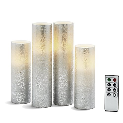 "Silver Flameless Pillar Candles - Tall Set of 4, Distressed Textured Wax Finish, White LED Lights, 2"" Diameter, Batteries & Remote Included"