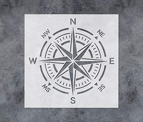 GSS Designs Compass Stencil Large 12x12 Inch Wall Stencil - Reusable Compass Rose Stencil for Painting on Wood Walls Concrete Floor - Mylar Stencil for Walls (SL-116)