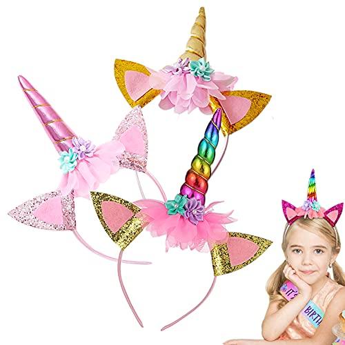 3 Einhorn-Kinder Haarbänder, Einhorn Stirnband Kinder, Einhorn Haarband, Einhorn-Haarbänder, Haarreif Einhorn Kinder, mit Einhornhorn-Haarschmuck und Ohren, verwendet für...