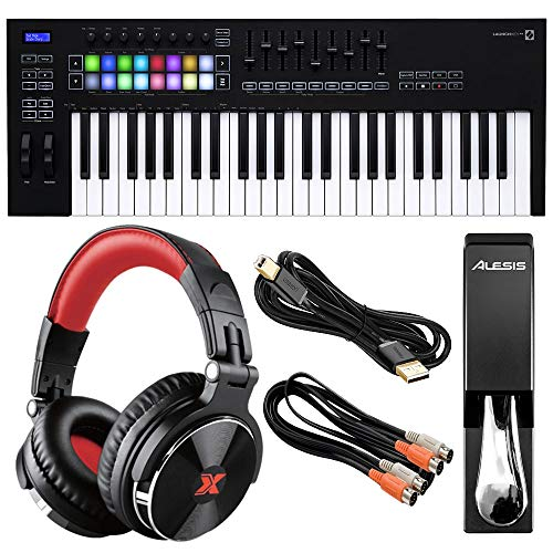 Novation Launchkey 49 MK3 USB MIDI Keyboard Controller (49-Key) with XPIX Pro DJ Headphones, Alesis ASP-2 Universal Piano-Style Sustain Pedal, and Essential Accessories