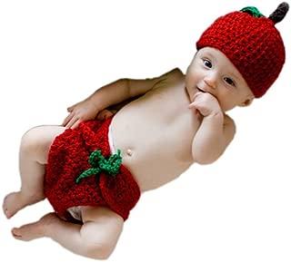 Newborn Baby Knitted Crochet Fruit Apple Hat Diaper Photography Prop