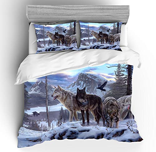 YAOL Ropa de cama 3D, funda nórdica 100% microfibra, diseño de lobo, para niños, jóvenes y adultos (220 x 240 cm)
