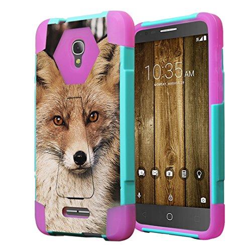Alcatel Fierce 4 Case, Alcatel Allura Case, Capsule-Case Hybrid Fusion Dual Layer Combat Kickstand Case (Teal Green & Pink) for Alcatel Fierce 4   Allura   Pop 4 Plus - (Fox)