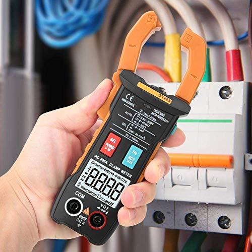 Yongenee Pinza multímetro digital, ST205 4000 cuentas completa inteligente rango de verdadero valor eficaz medidor digital for equipos eléctricos de prueba y mantenimiento automático (naranja) Herrami