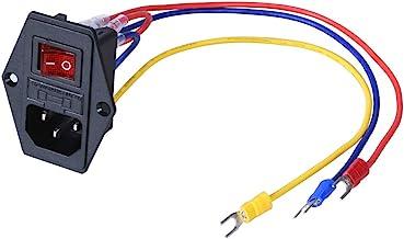 BIQU 15A 250V Rocker Switch Power Socket Inlet Module Plug 5A Fuse Switch with 5Pcs 16-14 AWG Wiring 3 Pin IEC320 C14