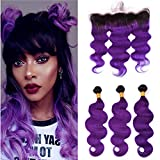 Tony Beauty Hair Dark Roots Purple Ombre Body Wave Hair Bundles with Frontal #1B/Purple Ombre Wavy Brazilian Human Hair Weaves 3 Bundles with Full Frontal 13x4 Lace Closure 4Pcs Lot (26 28 30+24)